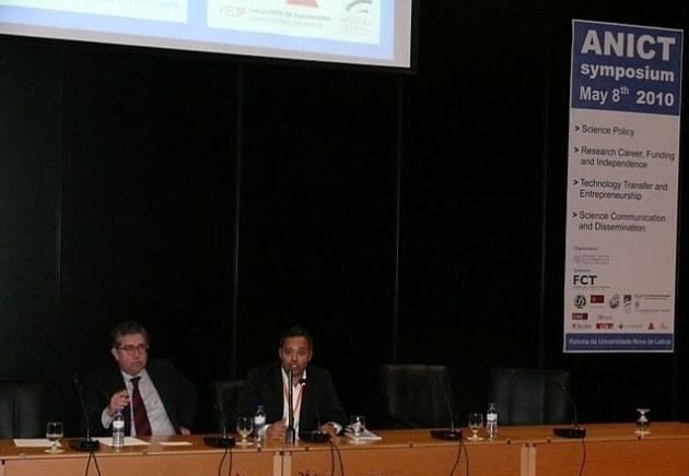 Professor Mariano Gago, nas funções de Ministro da Ciência e Ensino Superior, na sessão de encerramento do simpósio ANICT 2010.