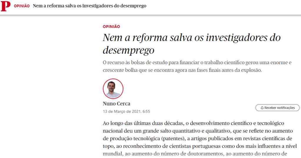 Mostra um screenshot da página do Público com o artigo de opinião. Para aceder à página clique nesta imagem.