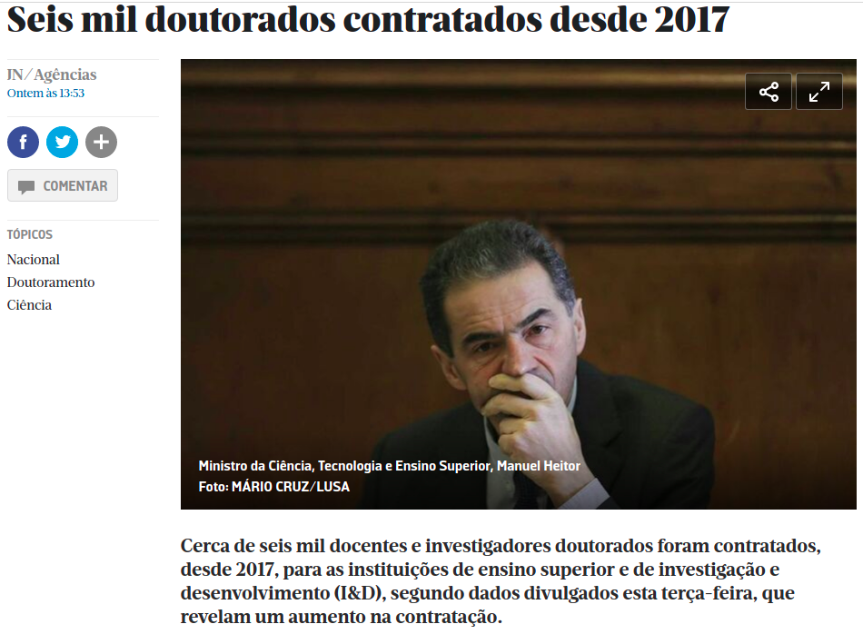 Mostra um screenshot da página da JN com o início da noticia. Para aceder à página clique nesta imagem.